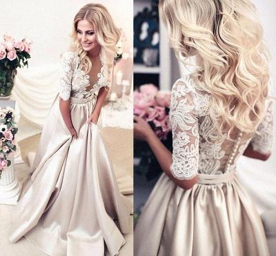 Forme princess robe de cérémonie en dentelle et satin avec manche mi-longue_2