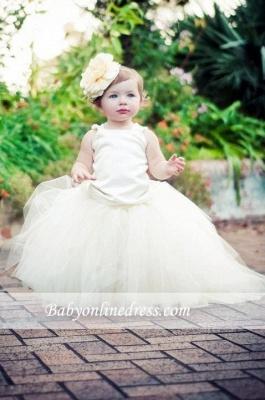 Forme Marquise Longueur ras du sol Col U Profond Tulle Robes d'Enfant/Fillette Perles