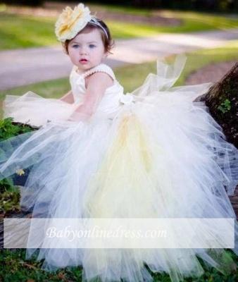 Forme Marquise Longueur ras du sol Col U Profond Tulle Robes d'Enfant/Fillette Perles_2