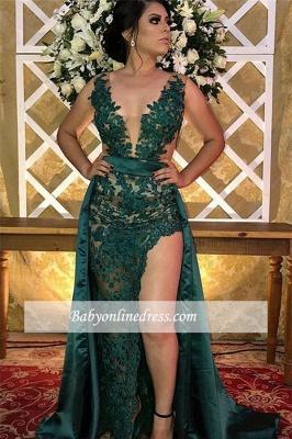 robe de soirée longue asymétrique en appliques dentelles_2