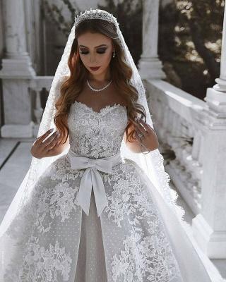 Robe de mariée princesse dentelle longue élégante avec nœud | robe de mariage élégante de luxe_4