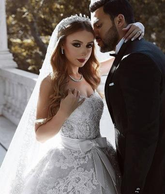 Robe de mariée princesse dentelle longue élégante avec nœud | robe de mariage élégante de luxe_5
