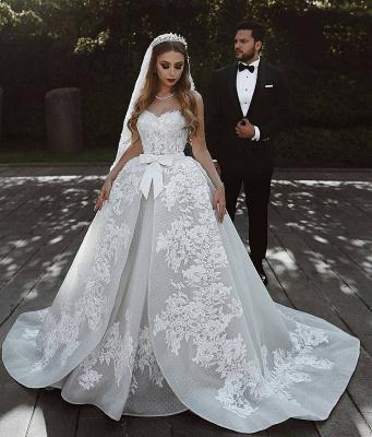 Robe de mariée princesse dentelle longue élégante avec nœud | robe de mariage élégante de luxe_3