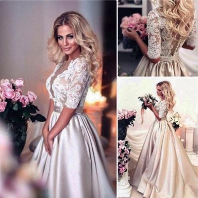 Forme princess robe de cérémonie en dentelle et satin avec manche mi-longue_5