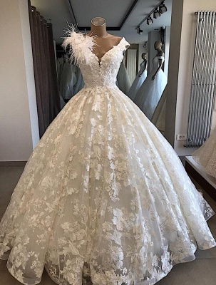 Robe de mariée princesse col en V | Robe de mariage princesse dentelle élégante_1