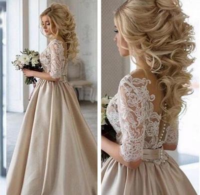 Forme princess robe de cérémonie en dentelle et satin avec manche mi-longue_3