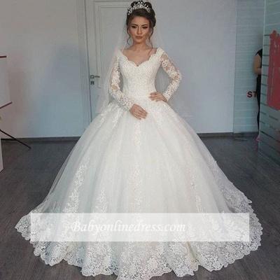 Forme Marquise Col en V Tulle Robes de mariée 2020 avec Appliques MH207_1