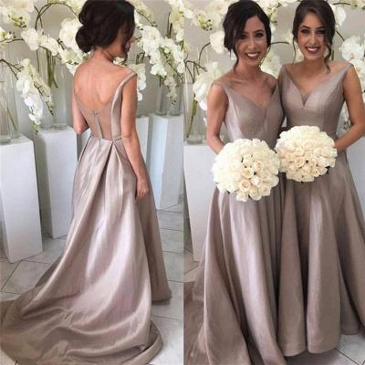Forme Princesse Traîne moyenne Col en V Satin Elastique robes de demoiselles d'honneur_2