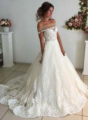 Robe de mariée princesse en tulle avec dentelle longue | robe de mariage élégante_1