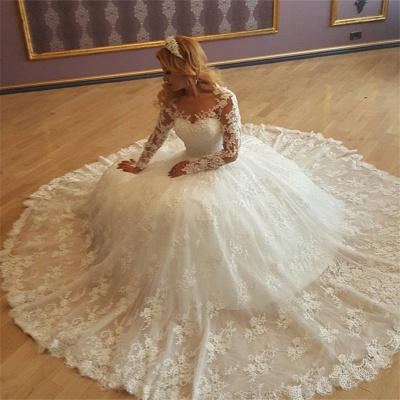 Forme Marquise Traîne Moyenne Col en V Manches Longues Robes de mariée avec Dentelle_2