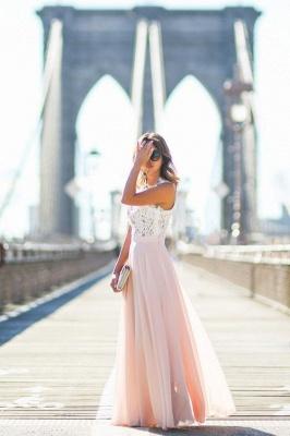 Forme Princesse Col U profond Longueur ras du sol Mousseline polyester Robe de bal avec Dentelle_2
