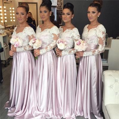 Forme Princesse alayage/Pinceau train Col en V Satin Elastique Robes de Demoiselles d'Honneur avec Dentelle_2