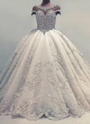 Robe de mariée princesse luxueuse avec cristaux | Robe de mariage princesse longue élégante_1