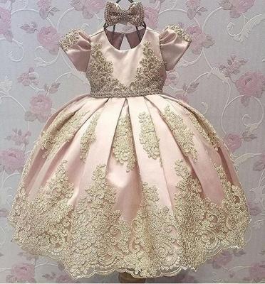 Robe fillette princesse mignon avec dentelle | Robe d'enfant princesse longue chic avec nœuds à boucles_3