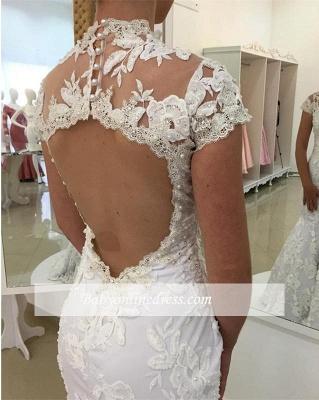 Robe de mariée sirène dentelle élégante   Robe de mariage trompette col montant_2