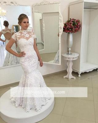 Robe de mariée sirène dentelle élégante   Robe de mariage trompette col montant_3