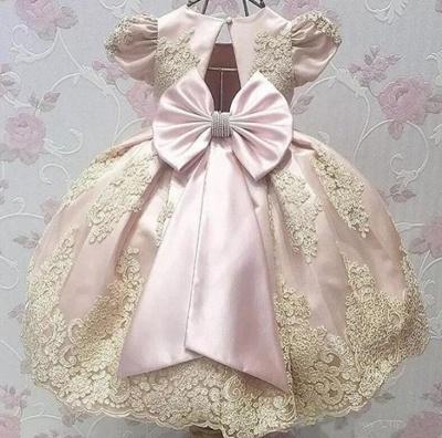 Robe fillette princesse mignon avec dentelle | Robe d'enfant princesse longue chic avec nœuds à boucles_4