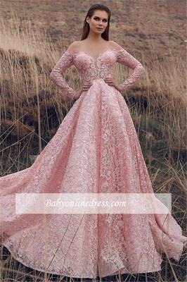 Robe de bal princesse dentelle délicate   Robe de soirée princesse manches longues_2