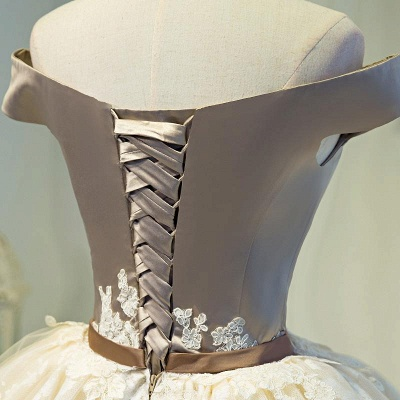 Robe de soirée courte dentelle épaules nues avec lacet | robe de cocktail mini chic_5