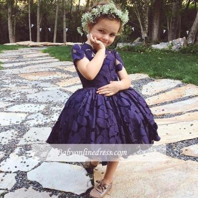 Forme Princesse Longueur genou Col ras du cou Dentelle 2020 Pageant Robes pour filles avec Dentelle
