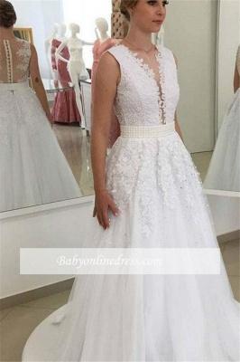 Robe de mariée princesse col en V | Robe de mariage princesse avec perles_4