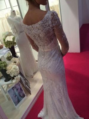 Robe de mariée sirène dentelle élégante | Robe de mariage trompette manches longues_2