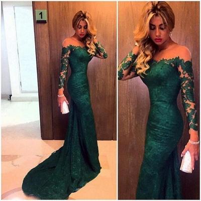 Elegante robe de soirée longue vert foncé dentelle épaules nus robe de cérémonie 2021_3