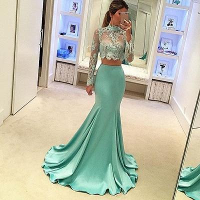Forme sirène robe de fêté deux pièces manche longue en dentelle couleurs au choix_2