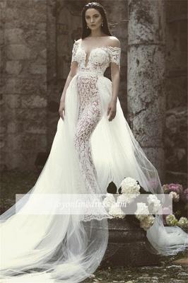 Robe de mariée sirène traîne détachable | Robe de mariage trompette dentelle chic_3