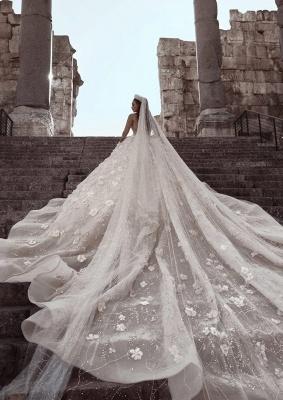 Robe de mariée princesse avec fleurs longue élégante luxueuse | robe de mariage élégante de luxe WD0911_4