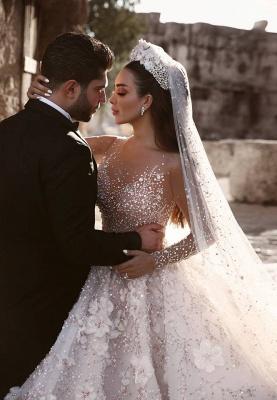 Robe de mariée princesse avec fleurs longue élégante luxueuse | robe de mariage élégante de luxe WD0911_2