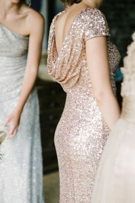 Forme fourreau robe demoiselle d'honneur pailleté avec petit manche dos nu couleurs au choix_3