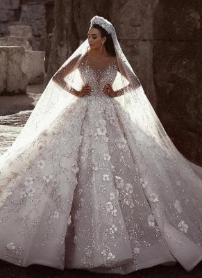 Robe de mariée princesse avec fleurs longue élégante luxueuse | robe de mariage élégante de luxe WD0911_1