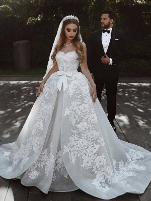 Robe de mariée princesse dentelle longue élégante avec nœud | robe de mariage élégante de luxe_1