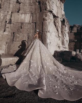 Robe de mariée princesse avec fleurs longue élégante luxueuse | robe de mariage élégante de luxe WD0911_3
