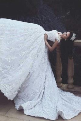 Forme Marquise Traîne moyenne Epaules nues Dentelle Robes de mariée robe de bal avec Dentelle_2