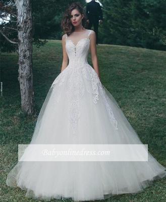 Forme Princesse Col U profond Tulle Robes de mariée 2020 avec Appliques_1