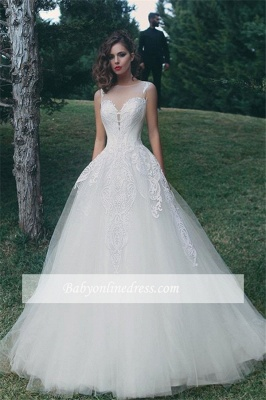 Forme Princesse Col U profond Tulle Robes de mariée 2020 avec Appliques_2