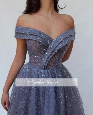 Robe de bal princesse brillante épaules nues   Robe de soirée princesse chic avec perles_1