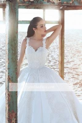 Forme Marquise Traîne mi-longue Avec bretelles Satin Robes de mariée 2020 avec Appliques_2