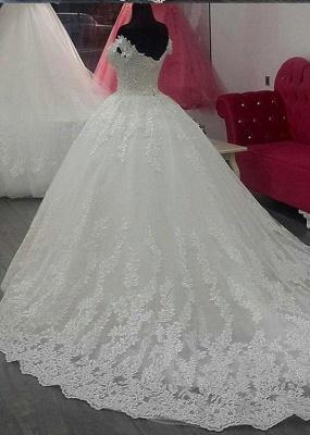 Forme Princesse Traîne mi-longue Col en cœur Dentelle Robes de mariée avec Appliques_2