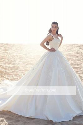 Forme Marquise Traîne mi-longue Avec bretelles Satin Robes de mariée 2020 avec Appliques_3