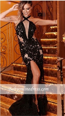 Robe de soirée sirène dentelle sexy | Robe de cérémonie trompette à col halter_2