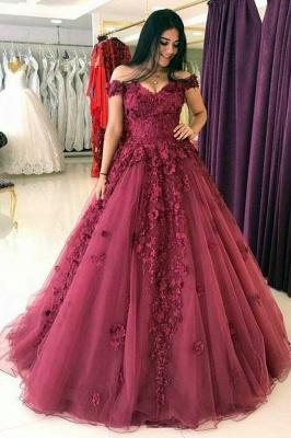 Forme Princess Epaules Nues Traîne Courte Tulle Robe de Mariée Fleur Applique_1