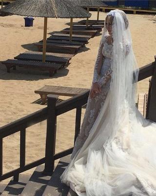 Robe de mariée sirène longue dentelle manches longues | Robe de mariage trompette dentelle_6