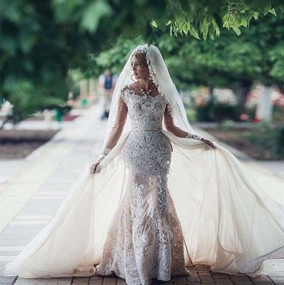 Robe de mariée sirène longue dentelle manches longues | Robe de mariage trompette dentelle_3