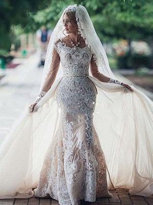 Robe de mariée sirène longue dentelle manches longues | Robe de mariage trompette dentelle_2