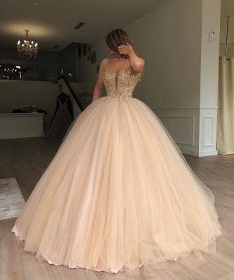 Robe de bal princesse bretelles fines | Robe de soirée princesse chic avec perles_2