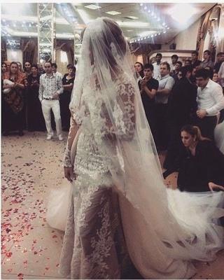 Robe de mariée sirène longue dentelle manches longues | Robe de mariage trompette dentelle_8