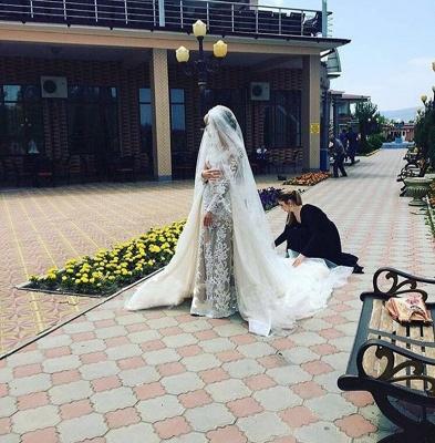 Robe de mariée sirène longue dentelle manches longues | Robe de mariage trompette dentelle_4